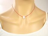 Opal Hamsa Hand necklace Red String