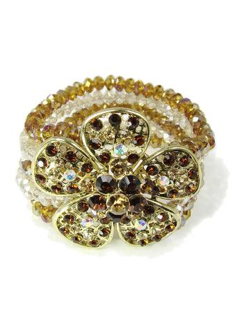 Beaded Flower Bracelet Strech Multiple Strands Rhinestones - Martinuzzi Accessories
