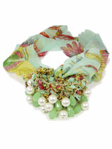 Choker Necklace with Beads Green Fabric Lace Exotic Fashion - Martinuzzi Accessories
