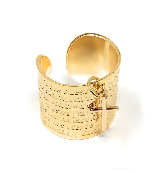 Our Father Ring Lord's Prayer Ring in Spanish Adjustable