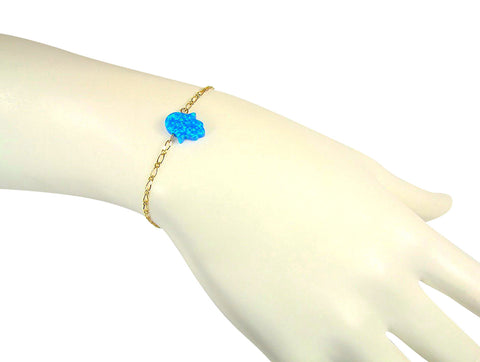 Opal Hamsa Hand Bracelet Gold Filled Chain Blue