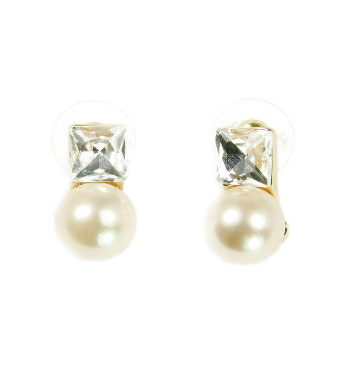Pearl Stud Earrings with Cubic Zirconia Stones