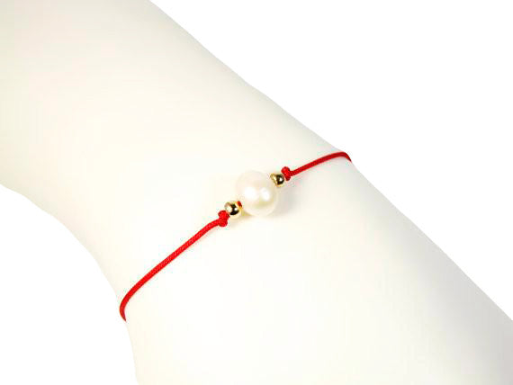 Pearl Bracelet Red Bangle Corded String Cord Single Bracelets Freshwater