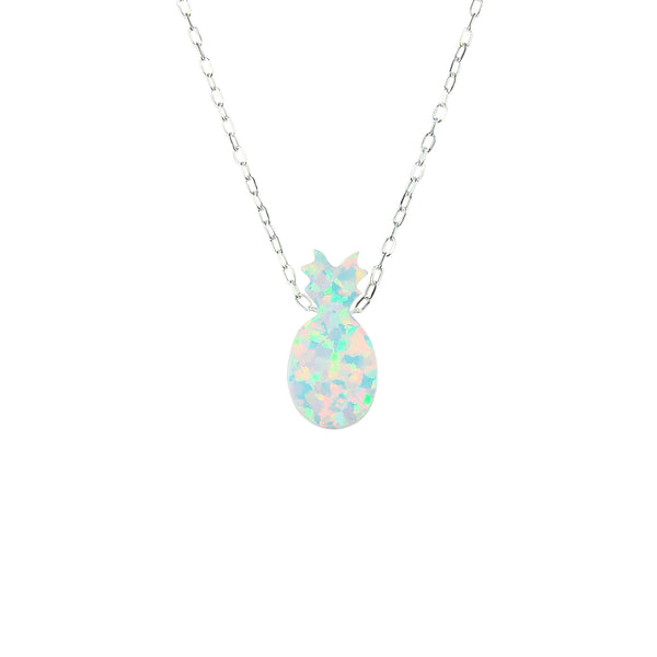 Pineapple Necklace White Lab Created Opal Pendant Charm 925 Sterling Silver Chain