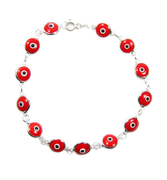 Red Evil Eye Beaded Bracelet Greek Evil Eye Sterling Silver Bracelet