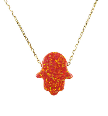 red opal hamsa hand pendant necklace