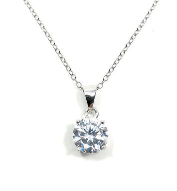 Solitaire Necklace Simulated Diamond Pendant Bridesmaid Gift