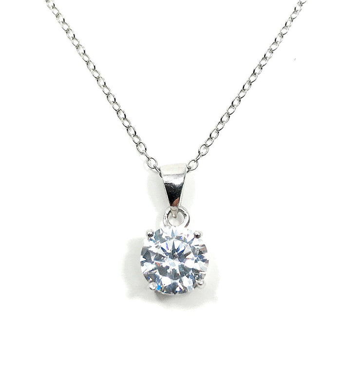 Solitaire Necklace Simulated Diamond Pendant 8mm Single Bead Necklace