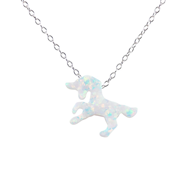 Unicorn Necklace White Lab-Created Opal Pendant 925 Sterling Silver Chain