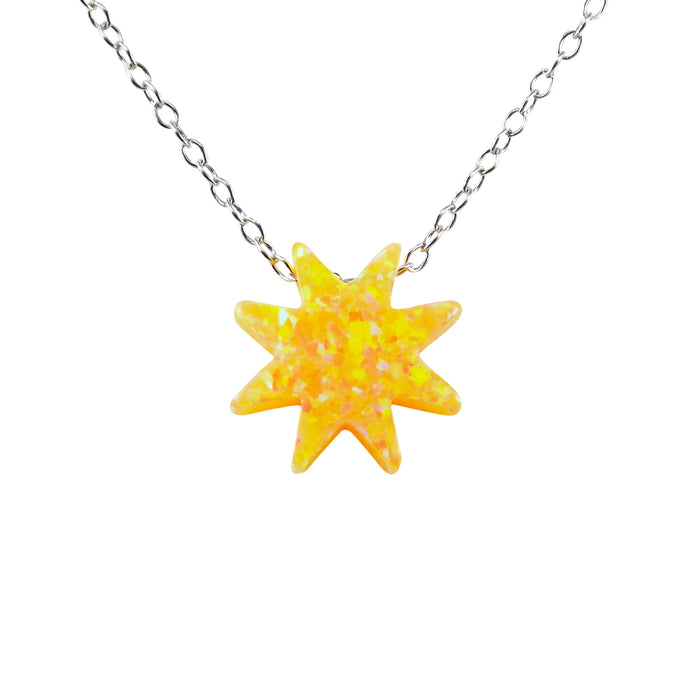 Sun Necklace Lab-Created Opal Yellow Pendant 925 Sterling Silver Link Chain