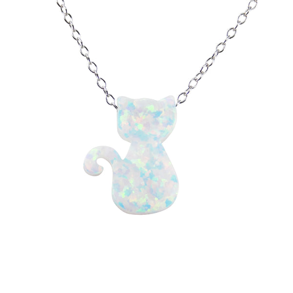 Cat Necklace White Opal Charm Pendant 925 Sterling Silver Chain