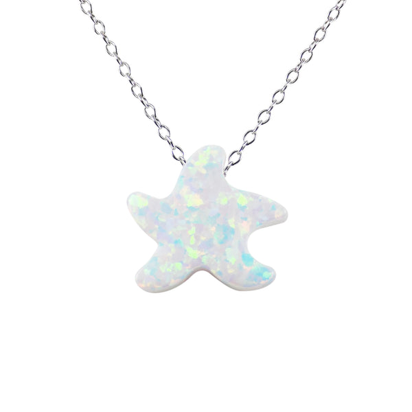 Sea Star Necklace Lab-Created Opal Pendant 925 Sterling Silver Chain