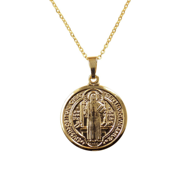 Saint Benedict Medallion Necklace, St Benedict Medal, San Benito Pendant Necklace - Martinuzzi Accessories