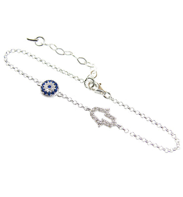 Evil Eye Hamsa Hand Bracelet Sterling Silver CZ Hand of Fatima Bangle Amulet