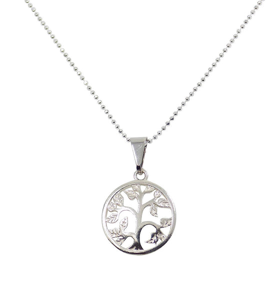 Tree of Life Necklace silver symbol Tree with Leaves Pendant Necklace