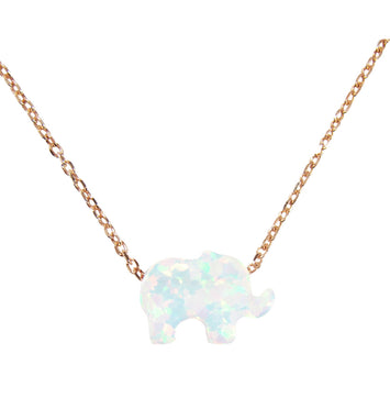 White opal elephant necklace - Martinuzzi Accessories