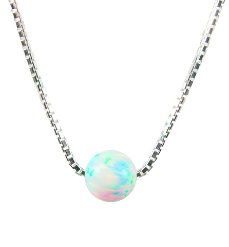 Bead Opal Necklace Dot Pendant 925 Sterling Silver Box Chain Bridesmaids Necklace