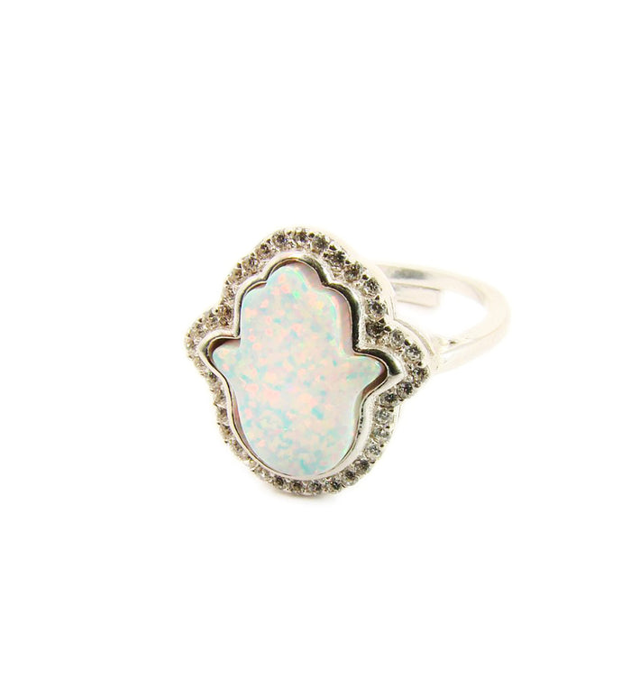 Hamsa Hand Ring White Opal Silver - Martinuzzi Accessories