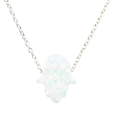 white opal hamsa hand pendant necklace - martinuzzi accessories