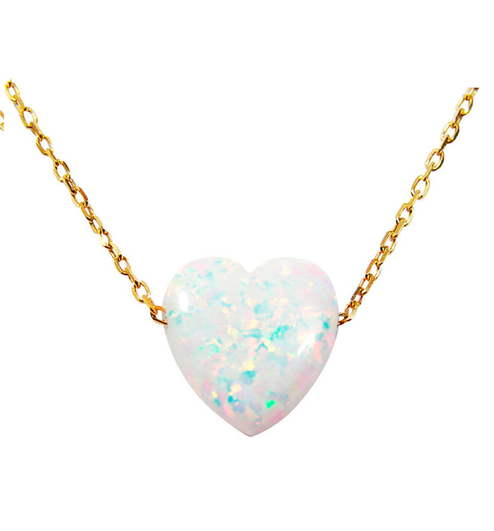 white opal heart necklace - martinuzzi accessories