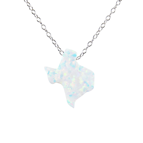Texas Necklace Lab-Created White Opal Pendant 925 Sterling Silver Chain