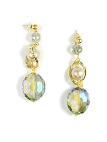 earrings with glass beads and synthetic pearls