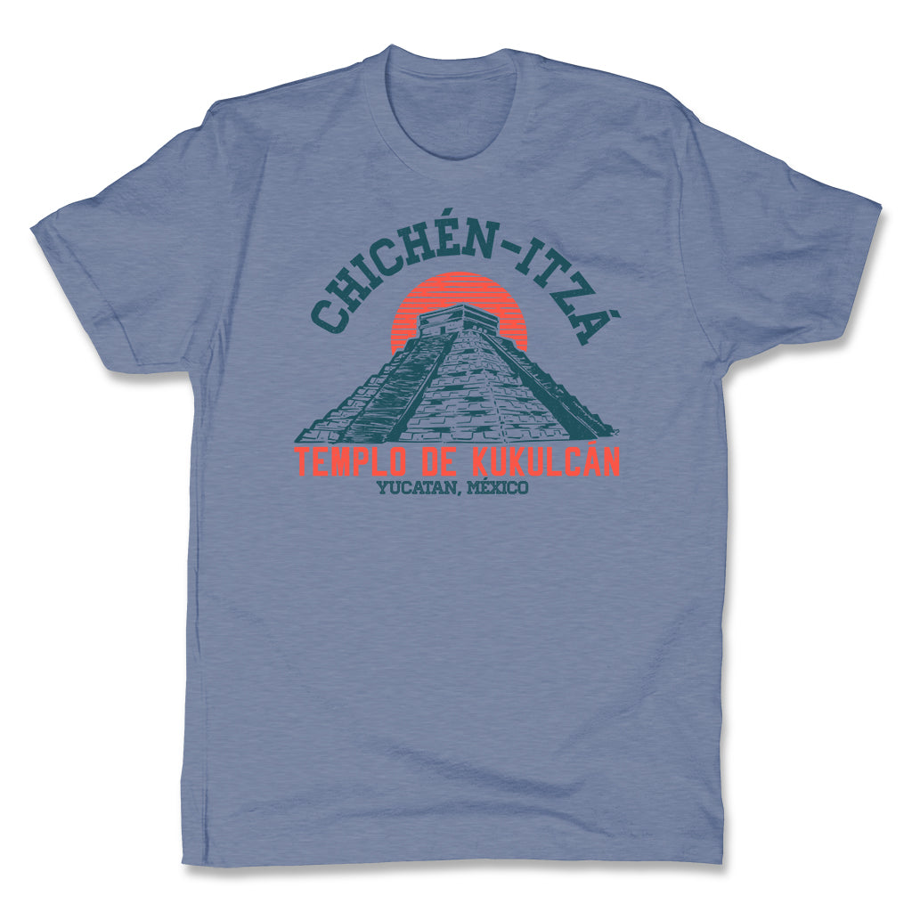 Akonkawa-Chichen-Itza-Mexico-Blue-Mens-T-Shirt