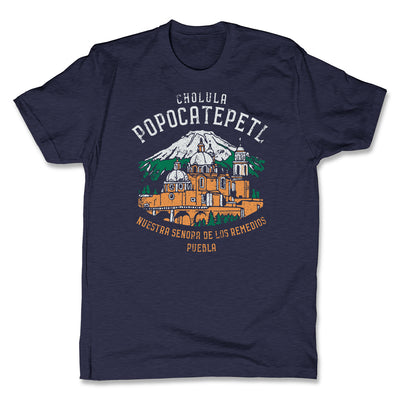 Akonkawa-Popocatepetl-Mexico-Blue-Mens-T-Shirt