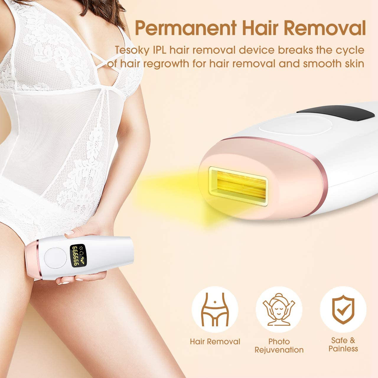 999,999 Flashes IPL Laser Hair Removal LCD Display