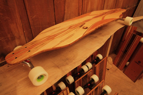 Warren Pieces long board hand made in Vermont, salvaged and reclaimed one Piece @ a time.
