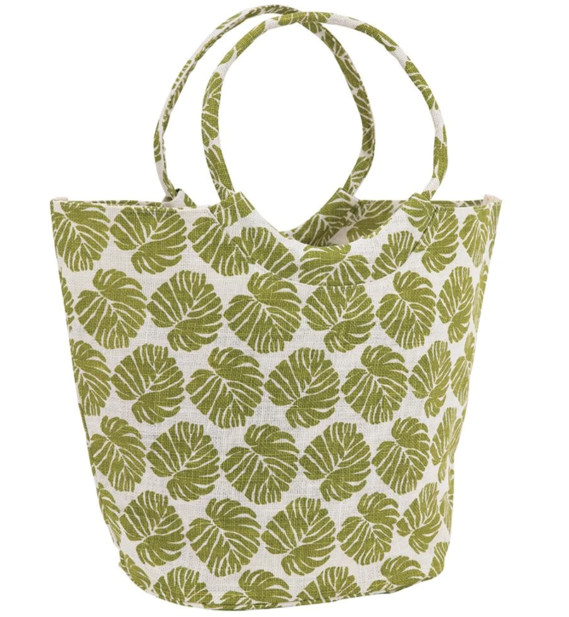Shop our Jute Bucket Bag in Monstera pattern