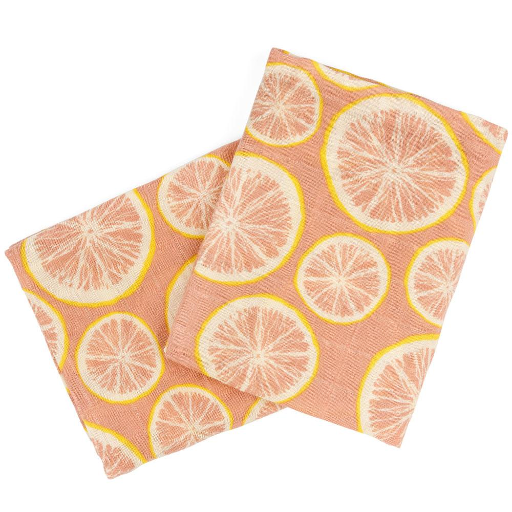 Burp Cloth Bundle - Grapefruit by Milkbarn-White Pier Gifts
