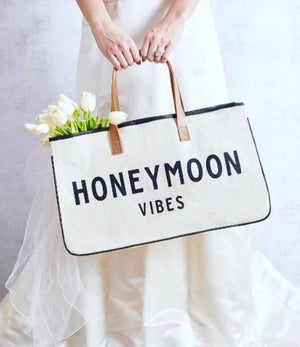 Canvas Tote Bag - Honeymoon Vibes-White Pier Gifts