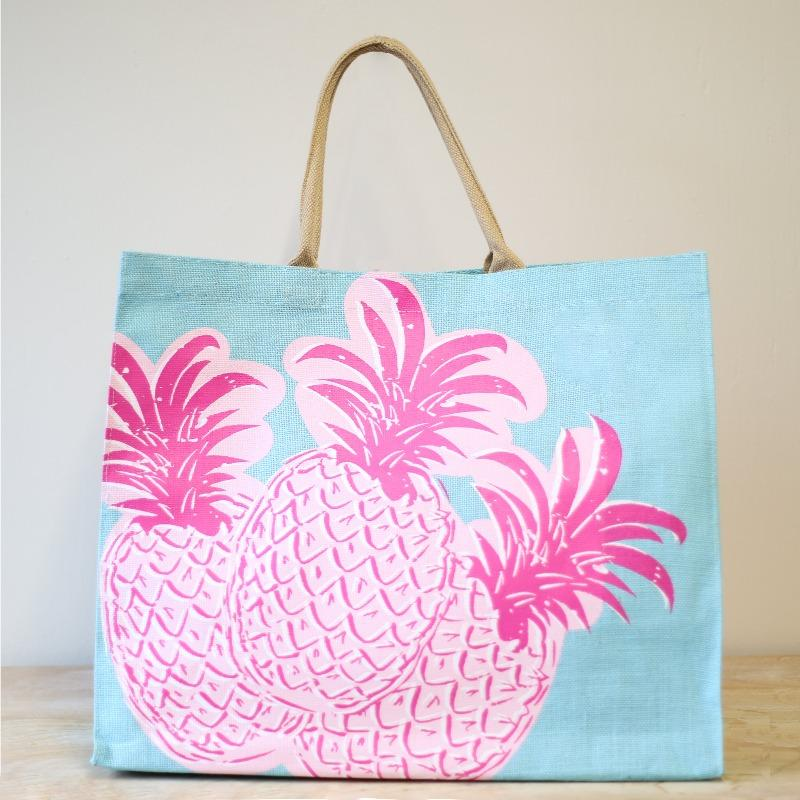 Carryall Large Jute Tote Bag in Pineapple-White Pier Gifts