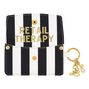 Credit Card Pouch Black & White Stripe- Retail Therapy-White Pier Gifts