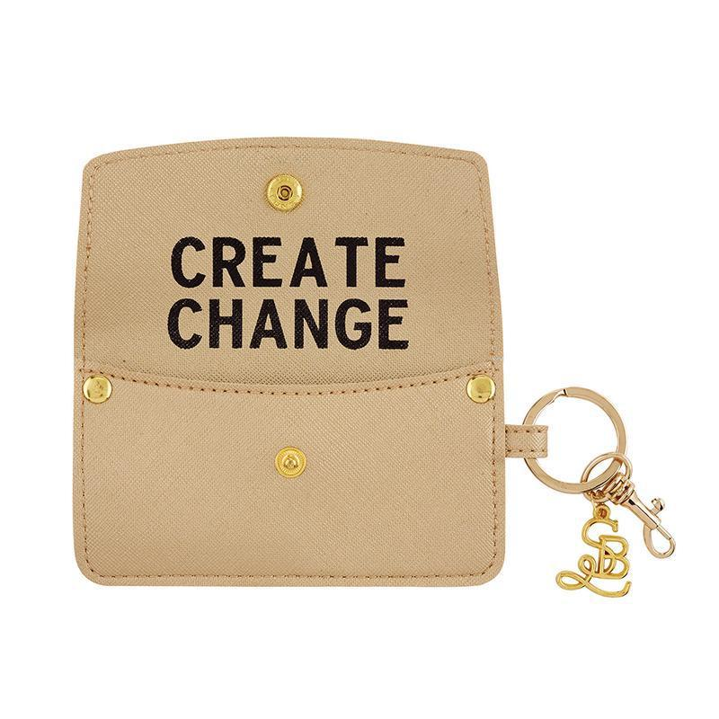 Credit Card Pouch in Gold - Create Change-White Pier Gifts