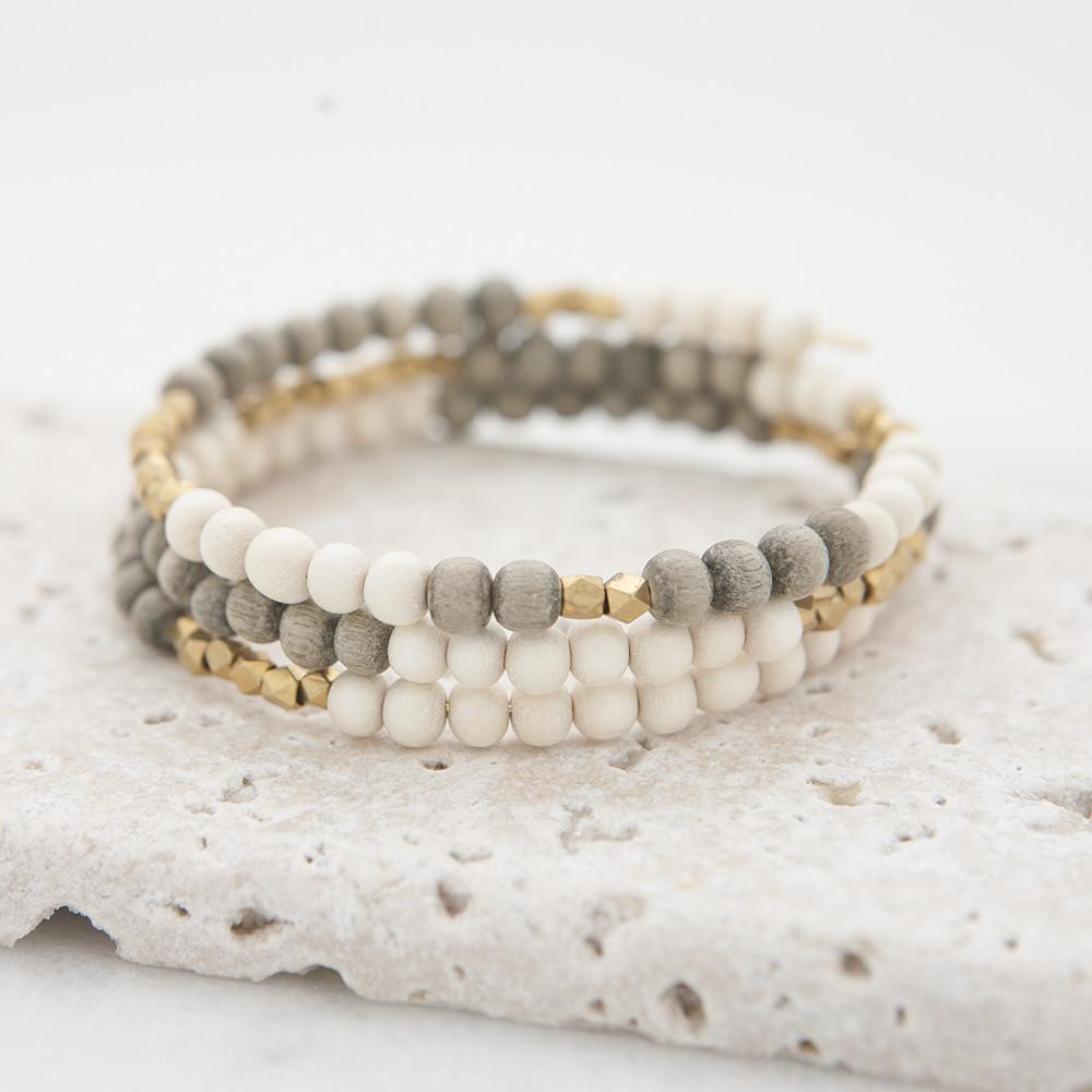 Gray & White Hopscotch Triple Wrap Bracelet by Stone + Stick-White Pier Gifts