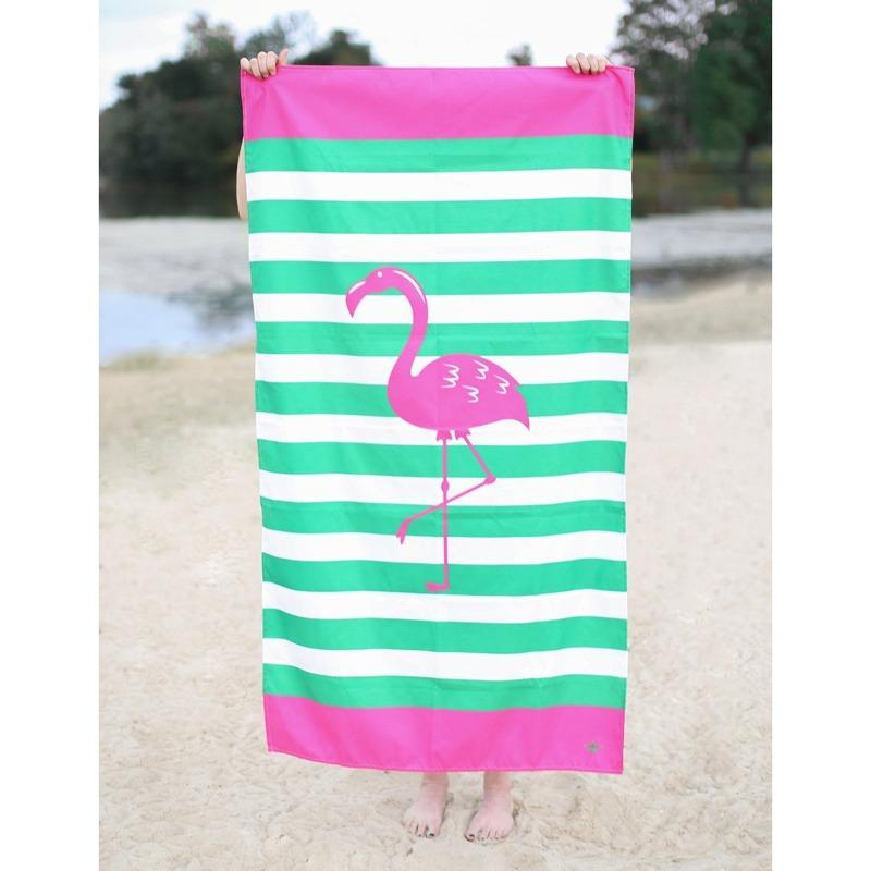 Microfiber Beach Towel in Flamingo Stripe-White Pier Gifts