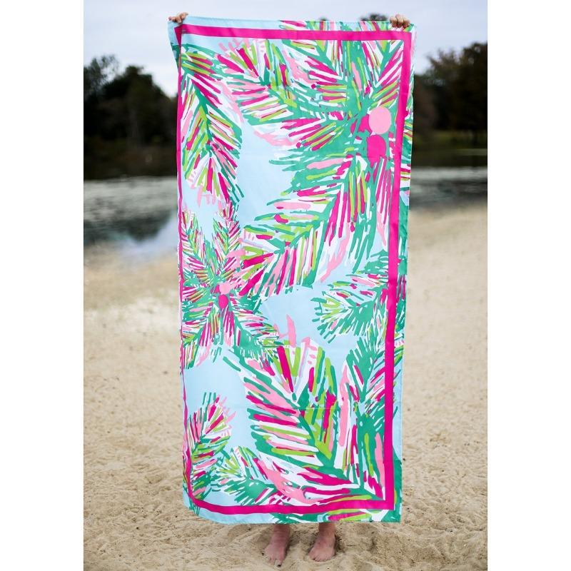 Microfiber Beach Towel in Panama Pink-White Pier Gifts