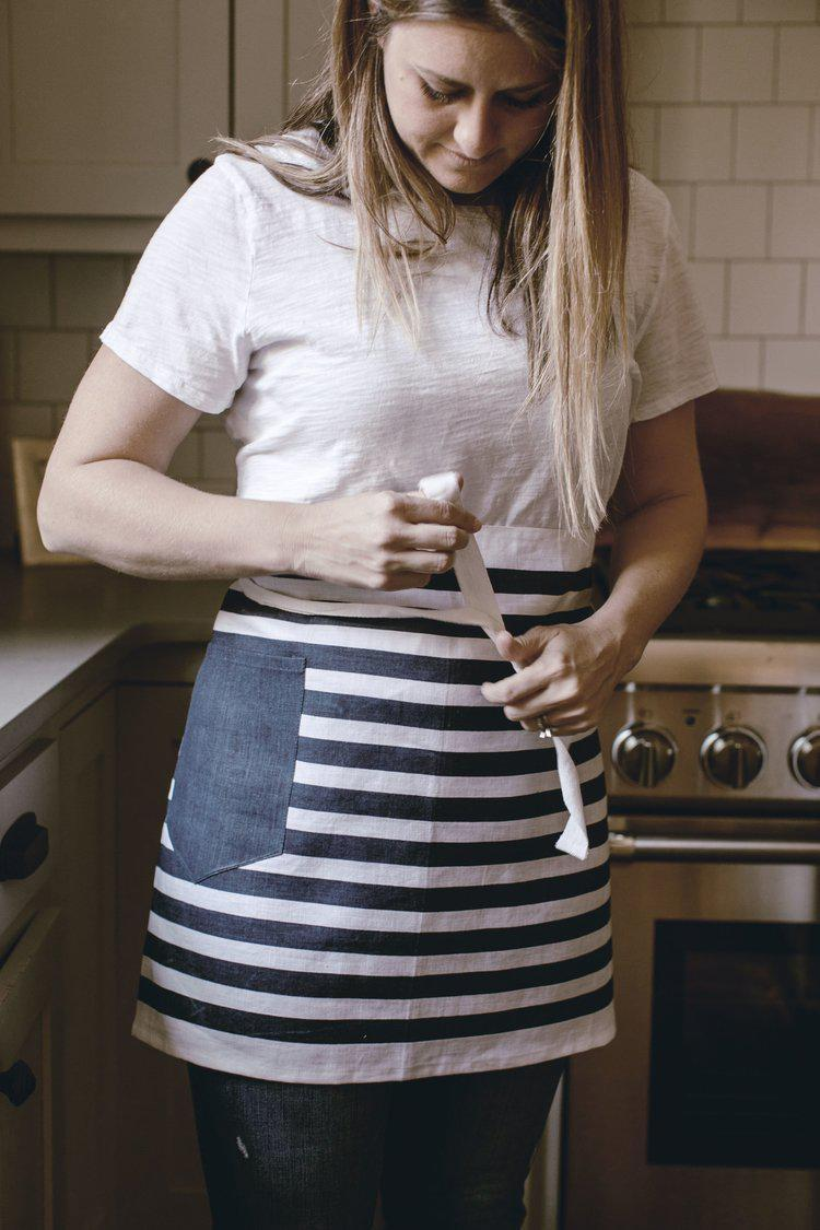 Navy Stripe Waist Apron by Heirloomed Collection-White Pier Gifts