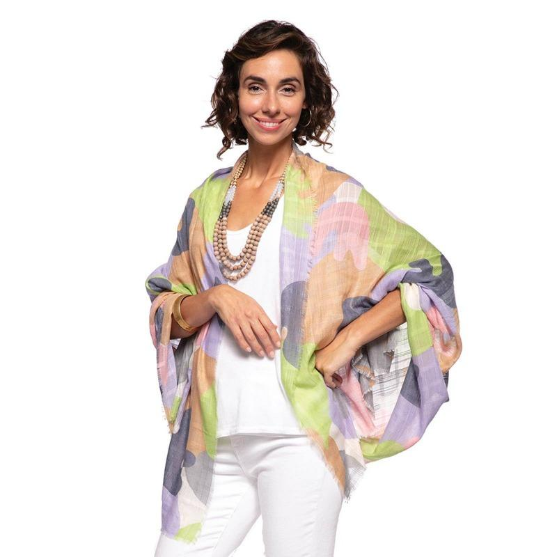 Oversized Scarf In Eden Lavendar-White Pier Gifts