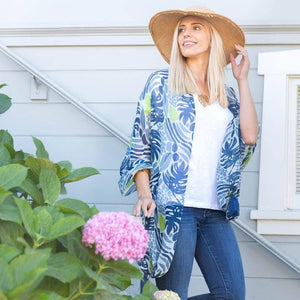 Tassel Shawl in Juliette Ocean-White Pier Gifts