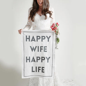Tea Towel - Happy Wife, Happy Life-White Pier Gifts
