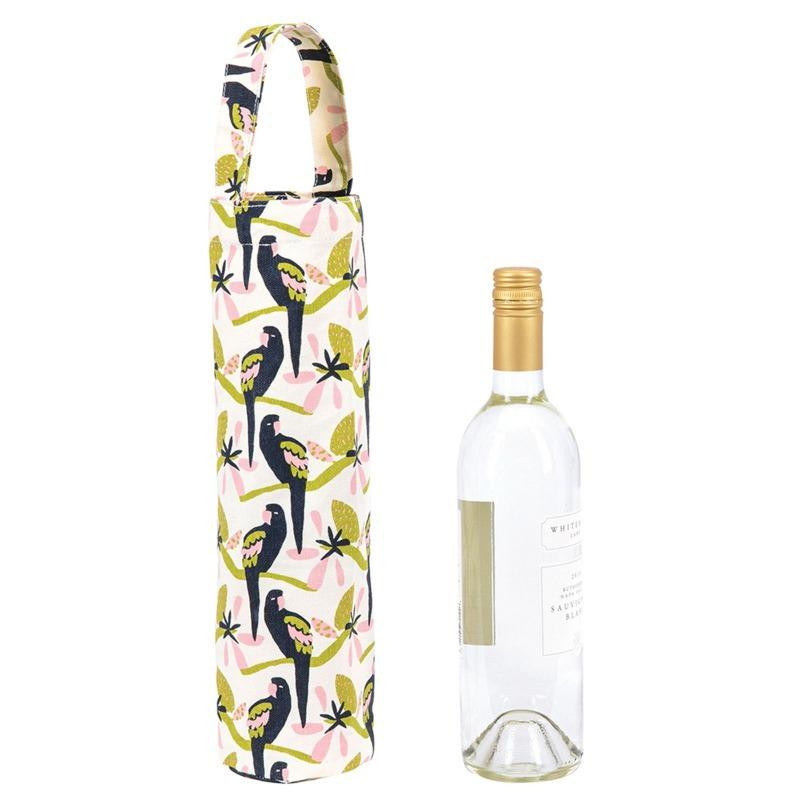 Wine Tote in Tropical Parrot-White Pier Gifts