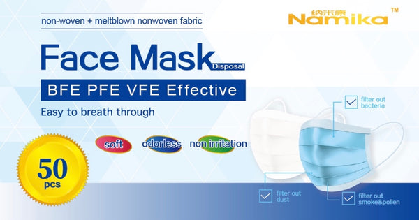 Face Mask (50x):  3-Ply Disposable Mask