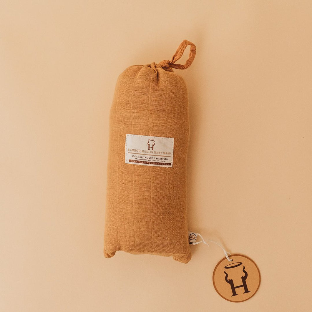 BABY SWADDLE/WRAP - ORGANIC BAMBOO MUSLIN - GINGER
