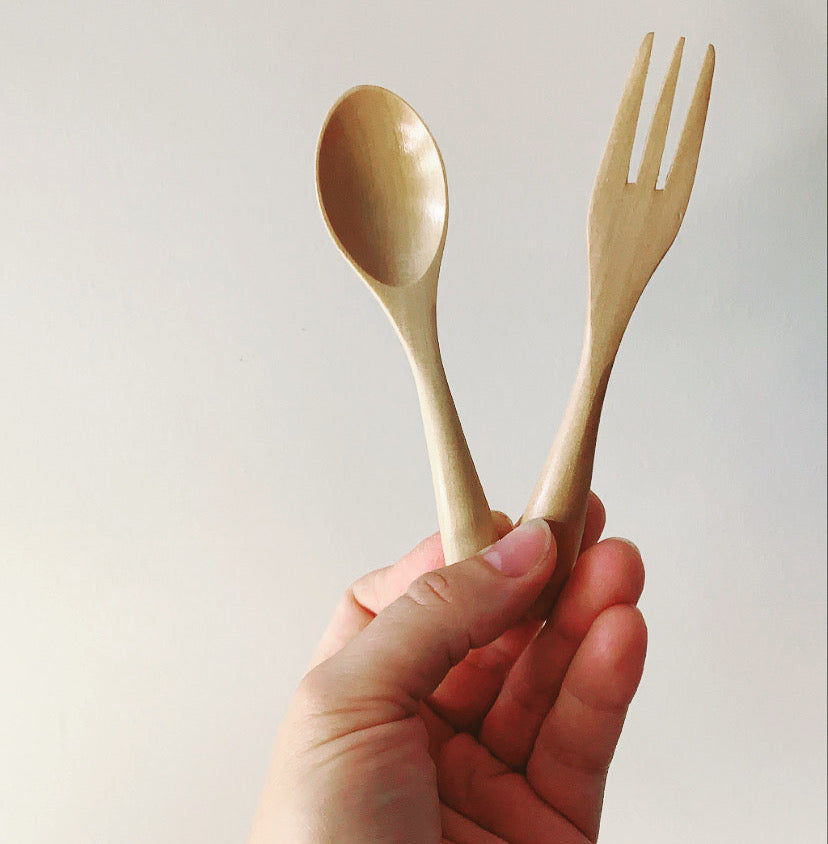 DOVE AND DOVELET - NATURAL ECO WOODEN TODDLER CUTLERY SET