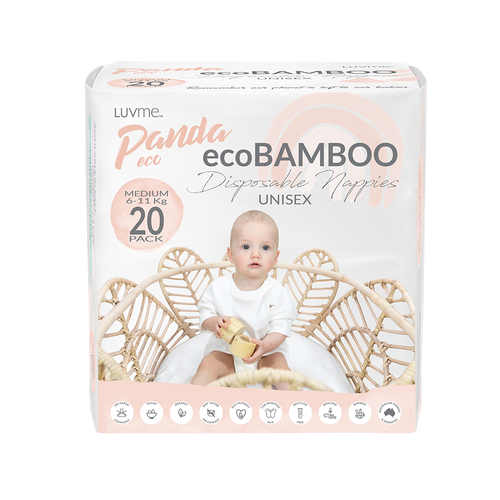 LUV ME PANDA ECO BAMBOO NAPPIES - MEDIUM 6-11KG