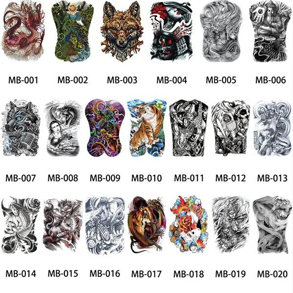 Waterproof Temporary Tattoo-Whole Back Large Size For Man Women Kids-(Styles-Lion,Flower,Skull,Etc.)