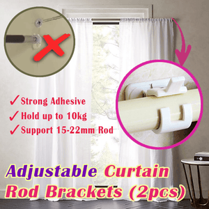 Japan Nail-free Adjustable Rod Bracket Holders (Set of 2)